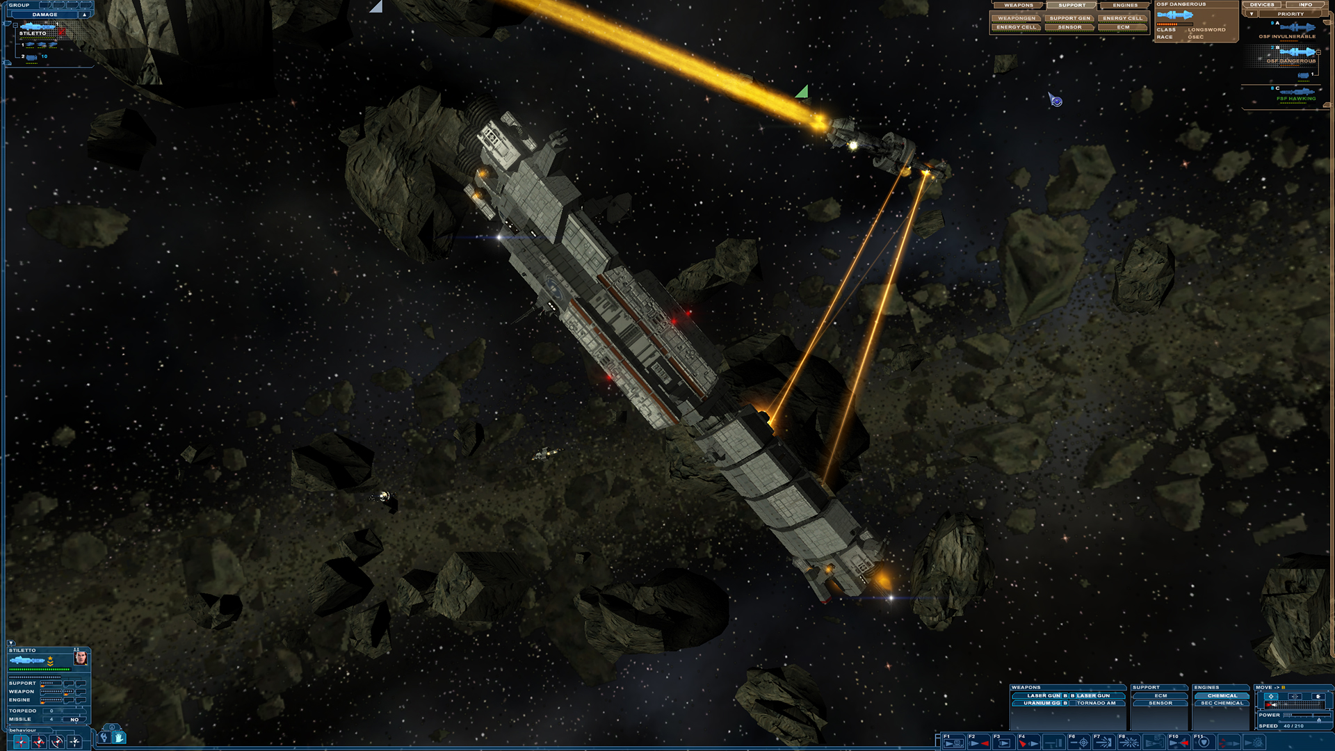 A thin, long capital spaceship exchanges laser fire with a smaller cruiser type ship in an asteroid field
