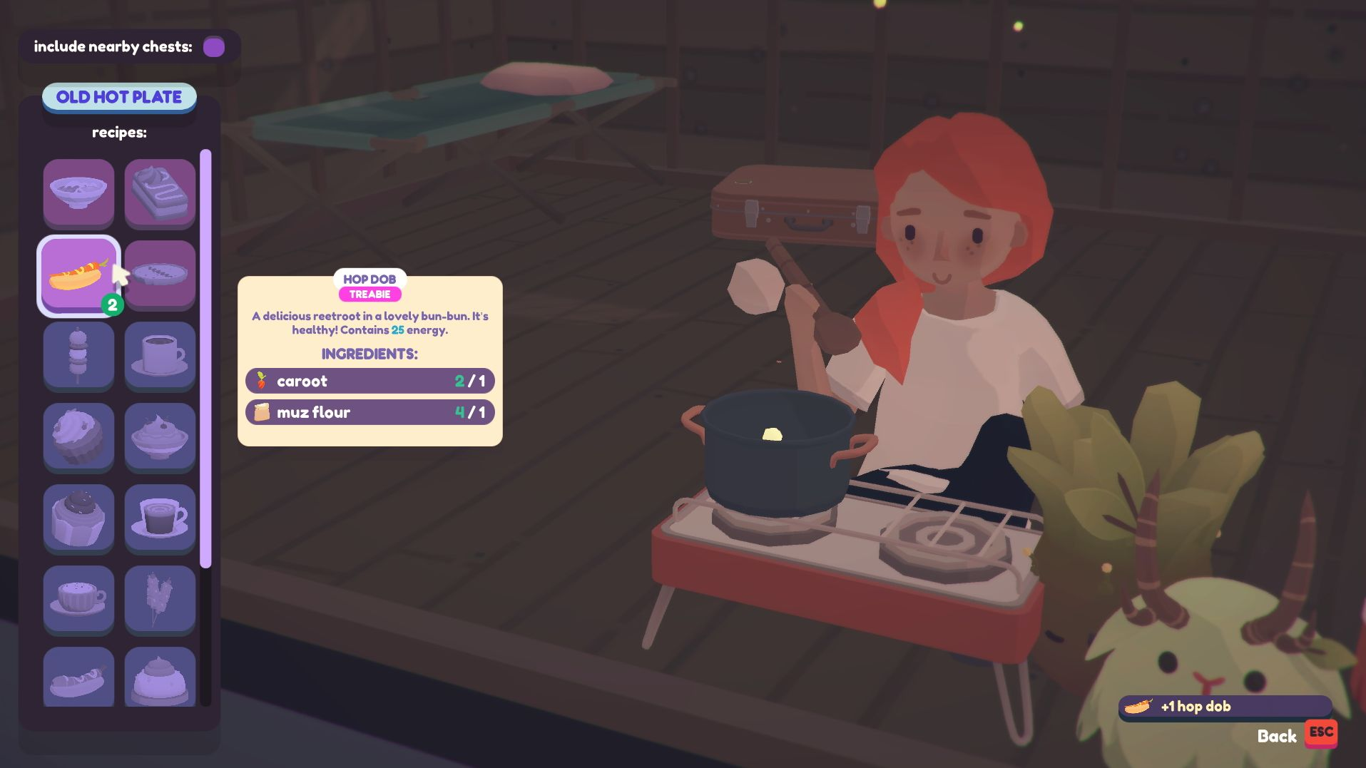 A screenshot of the player character ready to cook food at their little hob