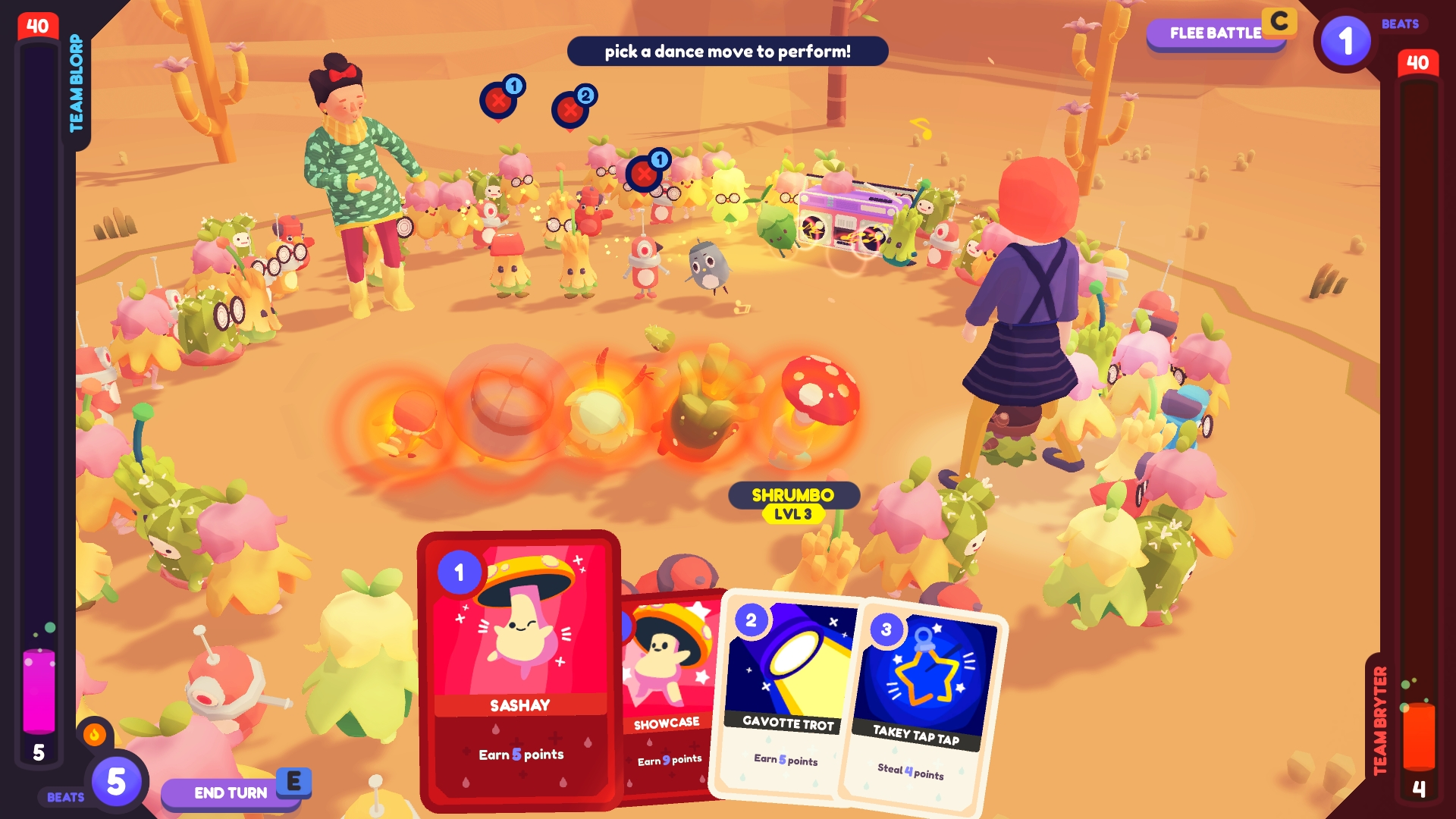 A screenshot showing the player's ooblets engaged in a tense dance battle