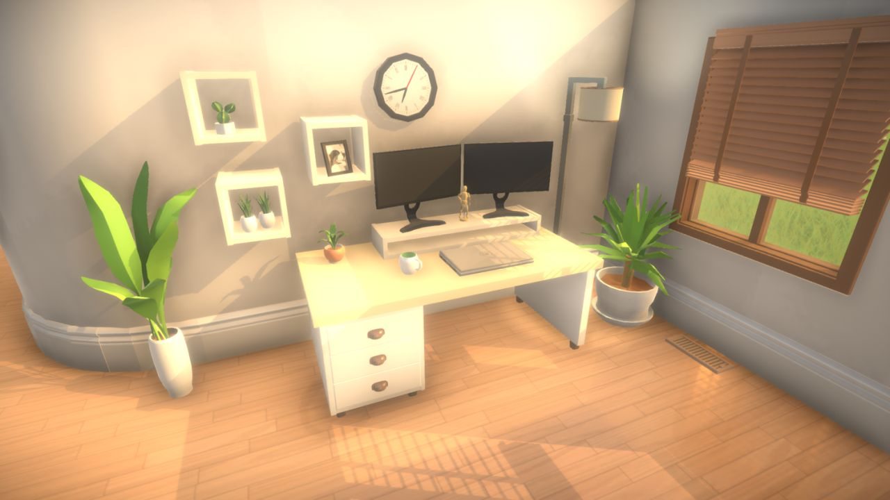 A screenshot of a cosy work space in Paralives