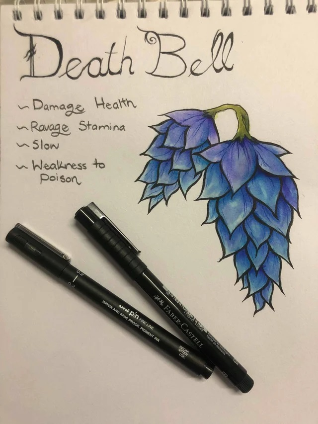 Drawing of a deathbell flower, a less decorated image than the others, with two pens laid on top of the page.