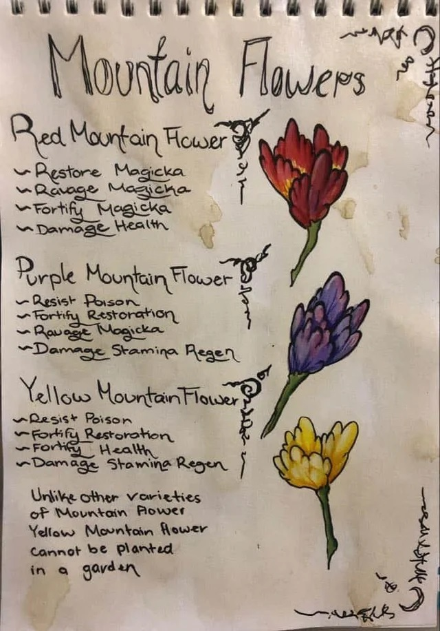 A drawing of red, purple, and yellow mountain flowers, listing each of their alchemical properties, and noting that the yellow ones cannot be artificially cultivated.