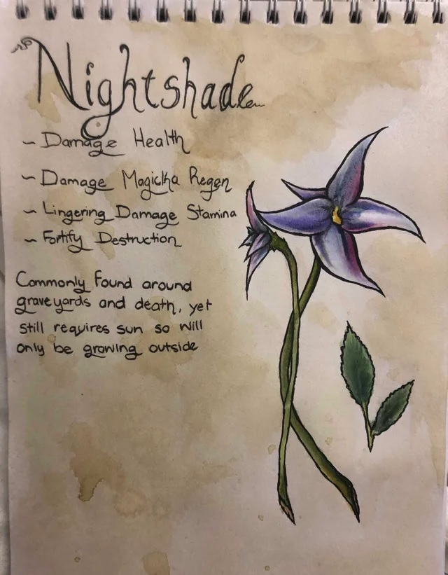 A drawing of a nightshade flower, stem, and leaves from Skyrim. Again, text describes its properties, and adds that it's typically found around graves and death, though it needs sunlight like other plants.