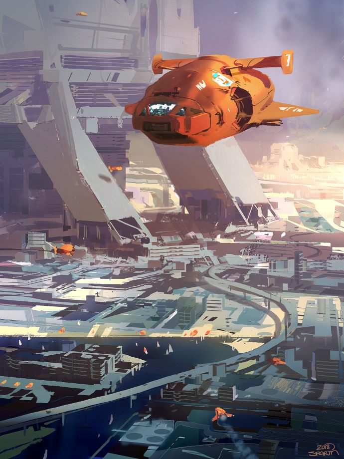 Orange Spaceship Over City by Sparth