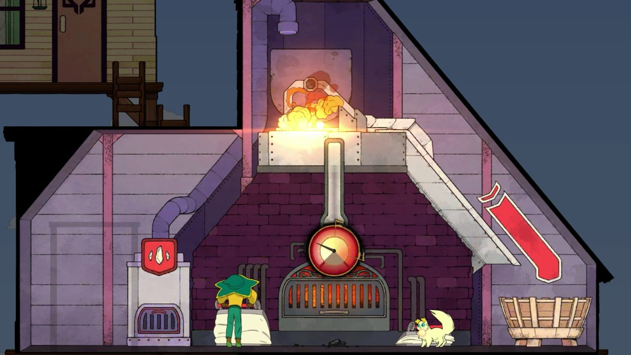 The player character in Spiritfarer operates the bellows in the forge. They are pumping in air and heating the furnace in the middle of the room; above the furnace the raw materials are heating and melting, giving off smoke.