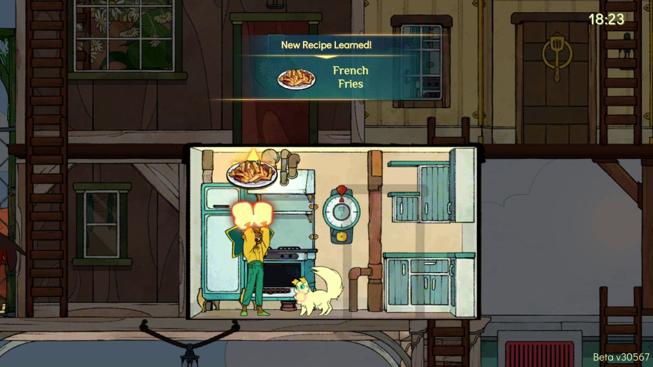 The player character stands in a small kitchen, with blue cabinets on the left, and an oven and stove on the right. The character is triumphantly holding up a plate of French fries while a cream cat watches.