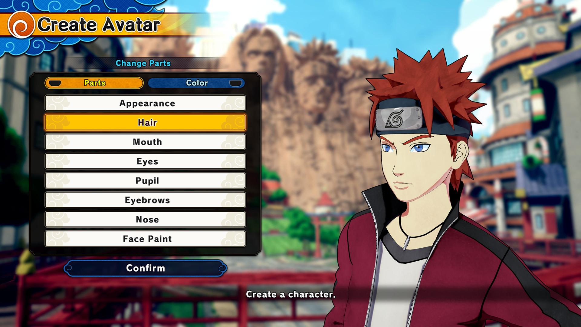 A screenshot of the character creator in Naruto to Boruto: Shinobi Striker