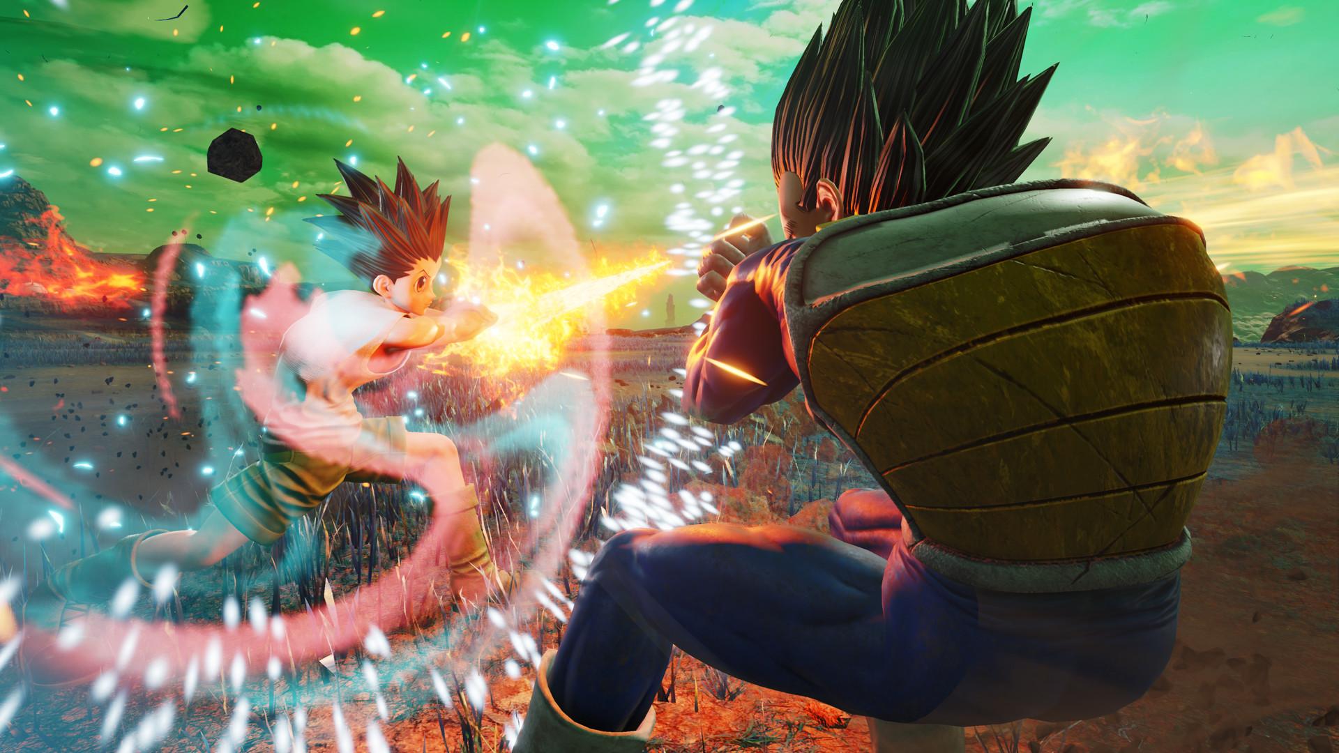 A screenshot of an explosive battle in Jump Force