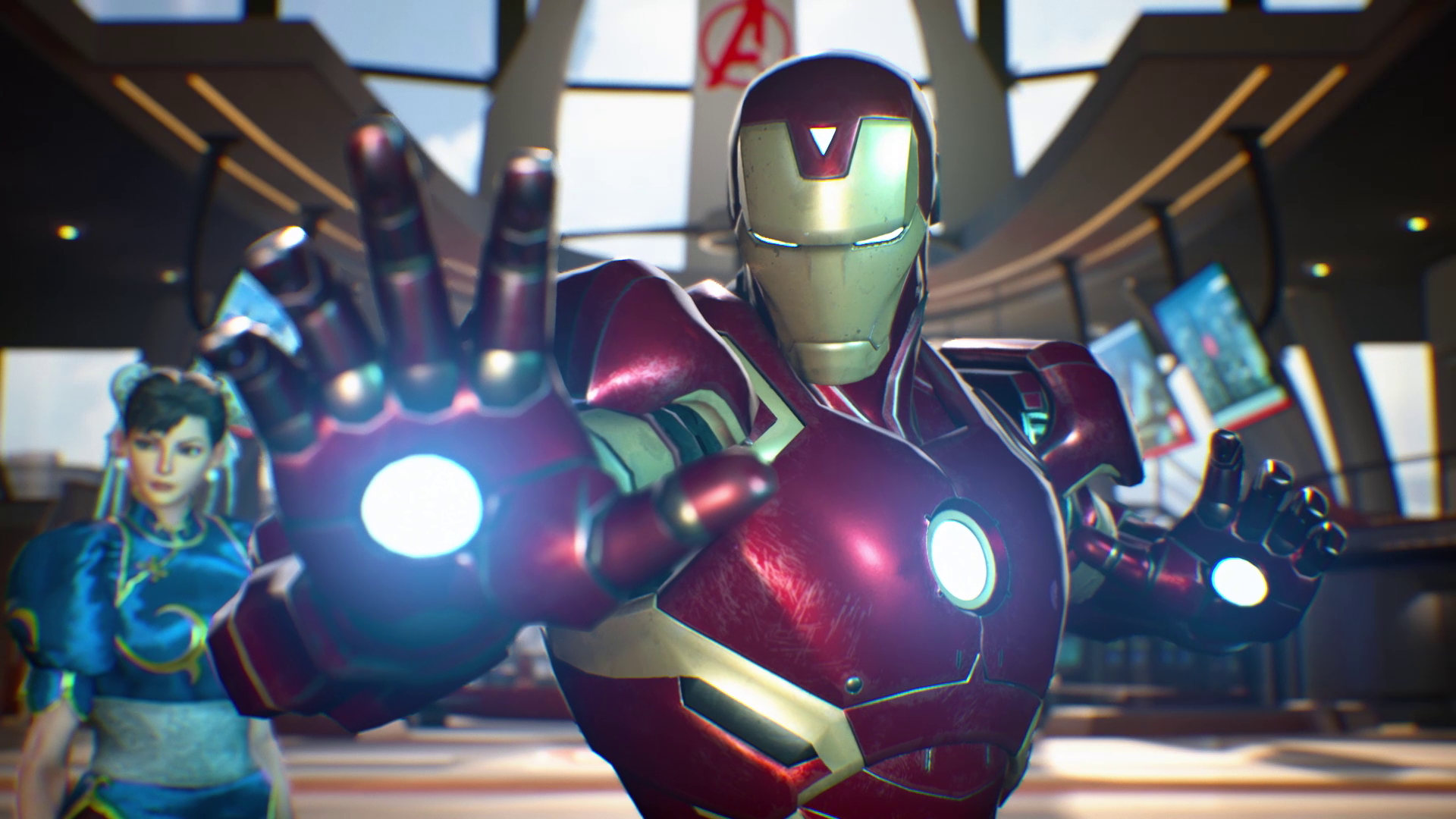 A screenshot from Marvel vs. Capcom: Infinite showing Iron Man flanked by Chun Li