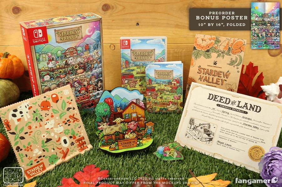 A photograph of the Stardew Valley Collector's Edition items, from left to right: a soft cleaning cloth with illustrations of plants and animals on it, a physical box with art of the farm and all the local NPCs, a wooden standee featuring farm animals, crops and your farm house in the background, a game box for the disc and instruction manual, a wooden lapel pin of some lovely foraged mushrooms, a small comic called Junimo's Day Out, and a Deed of Land for the farm