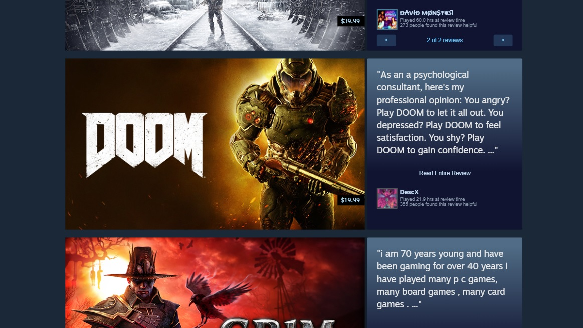 "A Steam user review for Doom that reads ""As an a psychological consultant, here's my professional opinion: You angry? Play DOOM to let it all out. You depressed? Play DOOM to feel satisfaction. You shy? Play DOOM to gain confidence."""