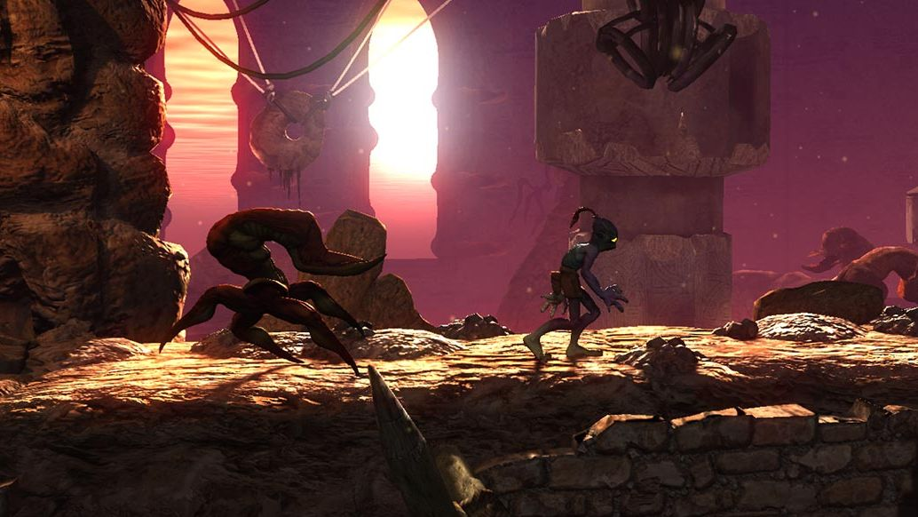 A screenshot from Oddworld showing the titular Abe being followed by the weird, crab-scorpion creature that is a scrab