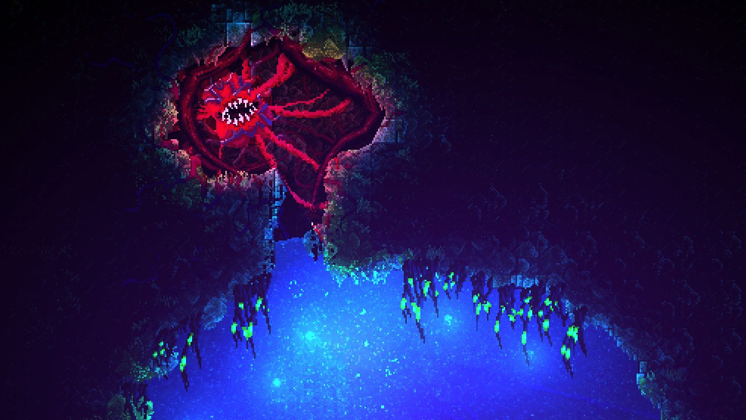 A screenshot from Carrion showing a 2D view of a cave. A square creature with a meaty texture is strung up in the corner with tendrils of its own flesh.
