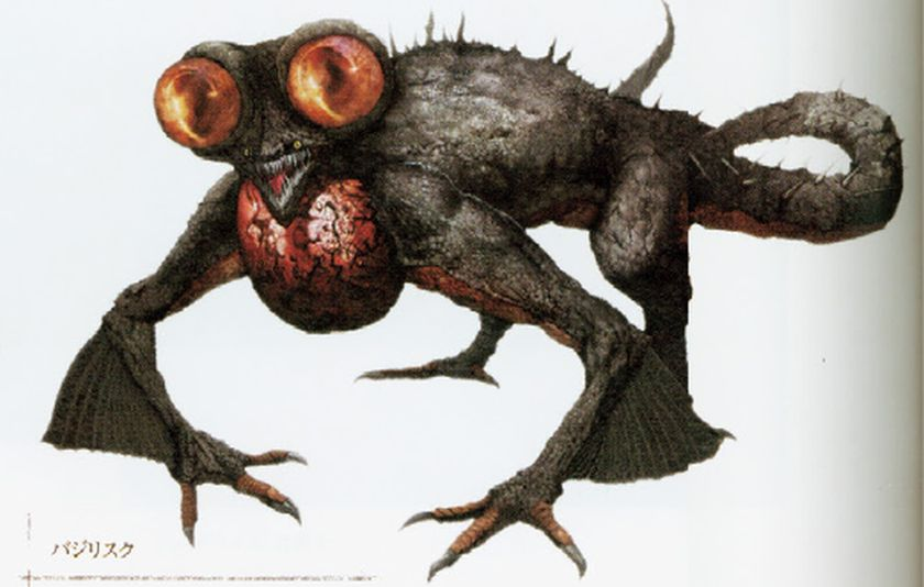 Art of a basilisk from dark souls, which is a cross between a bird and a frog.
