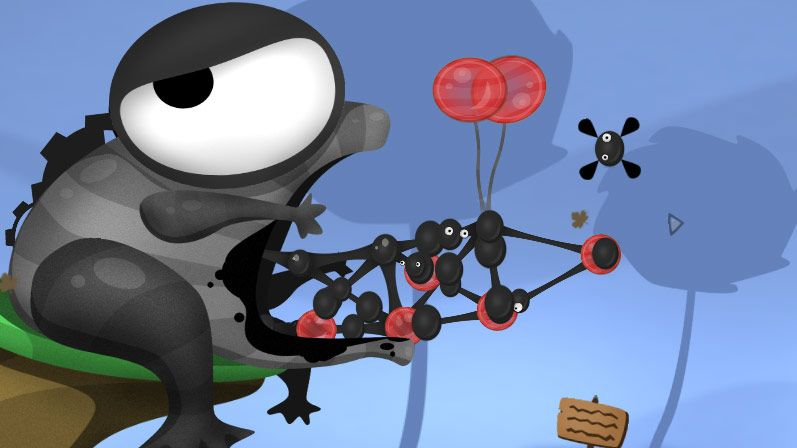 A screenshot from World Of Goo showing a half built bridge made out of blobs of aforementioned goo. The goo blobs are black and several have googly eyes.