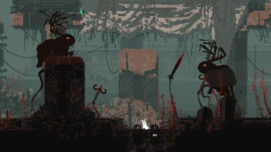 A screenshot from Rain World showing a rusted, decaying industrial landscape. On either side of the screen are two creatures that look like giant rabbits with antlers, in silhouette.
