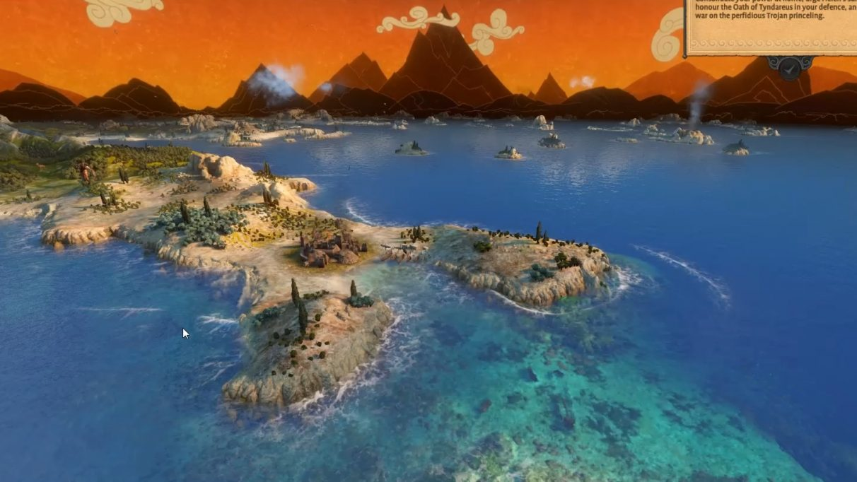 A screenshot of the map in Total War: Troy, showing some islands, blue sea, and the skybox's painted ceramic style