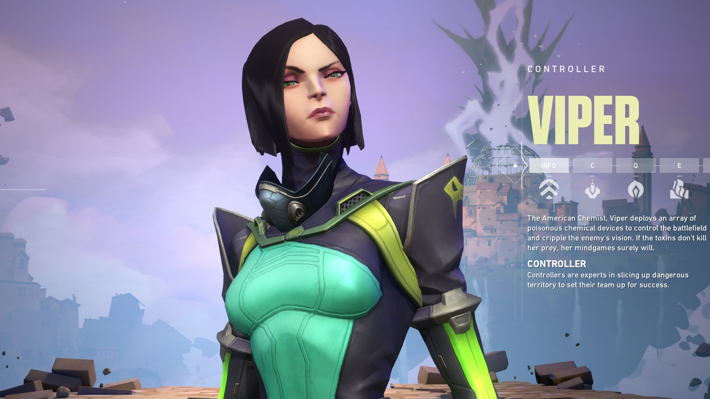 Viper, a character from Valorant. She's a chemist who uses poisons, and looks kind of evil because she has a severe black bob and her outfit is green and black
