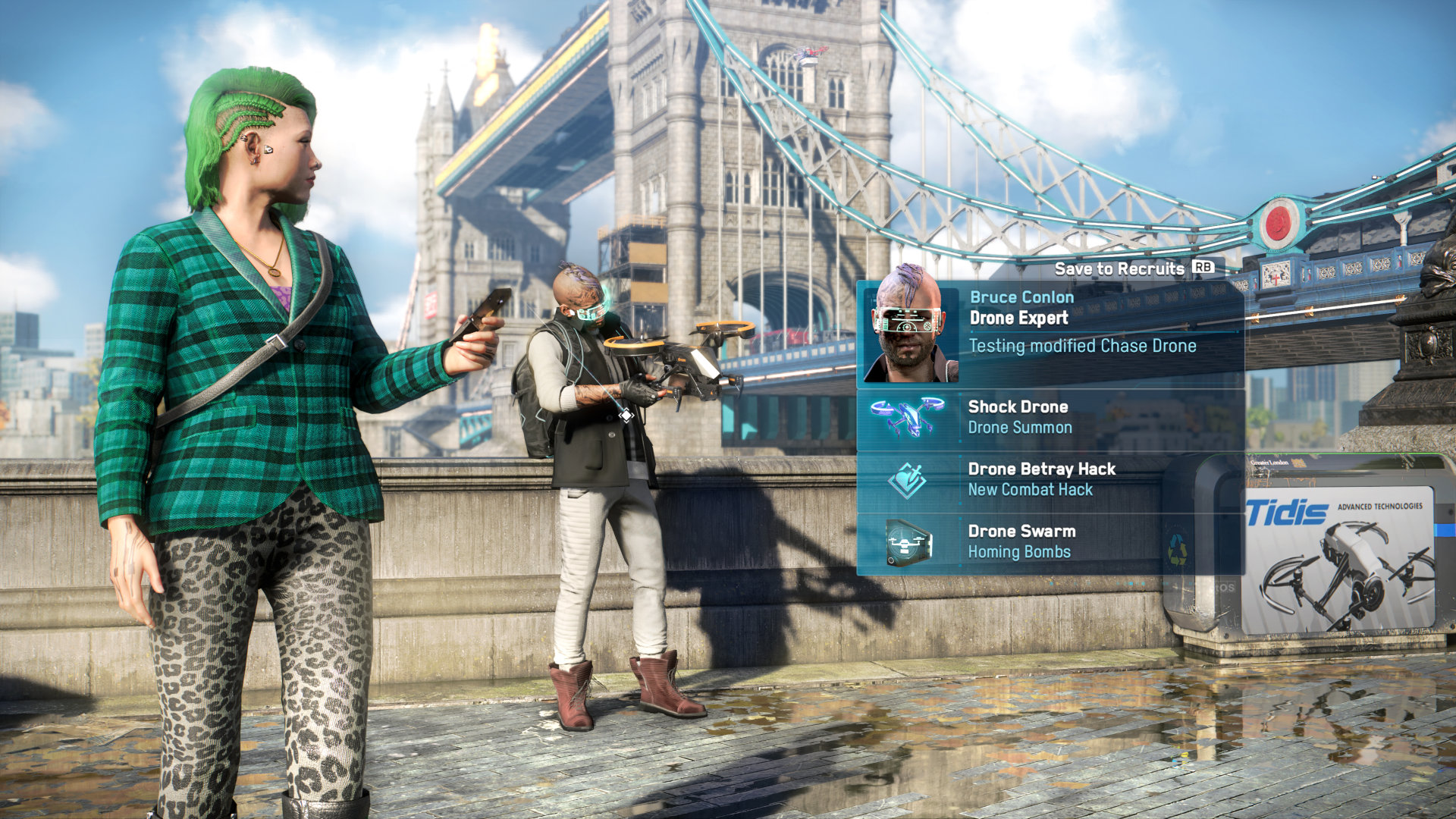 Scanning a potential recruit in a Watch Dogs: Legion screenshot.