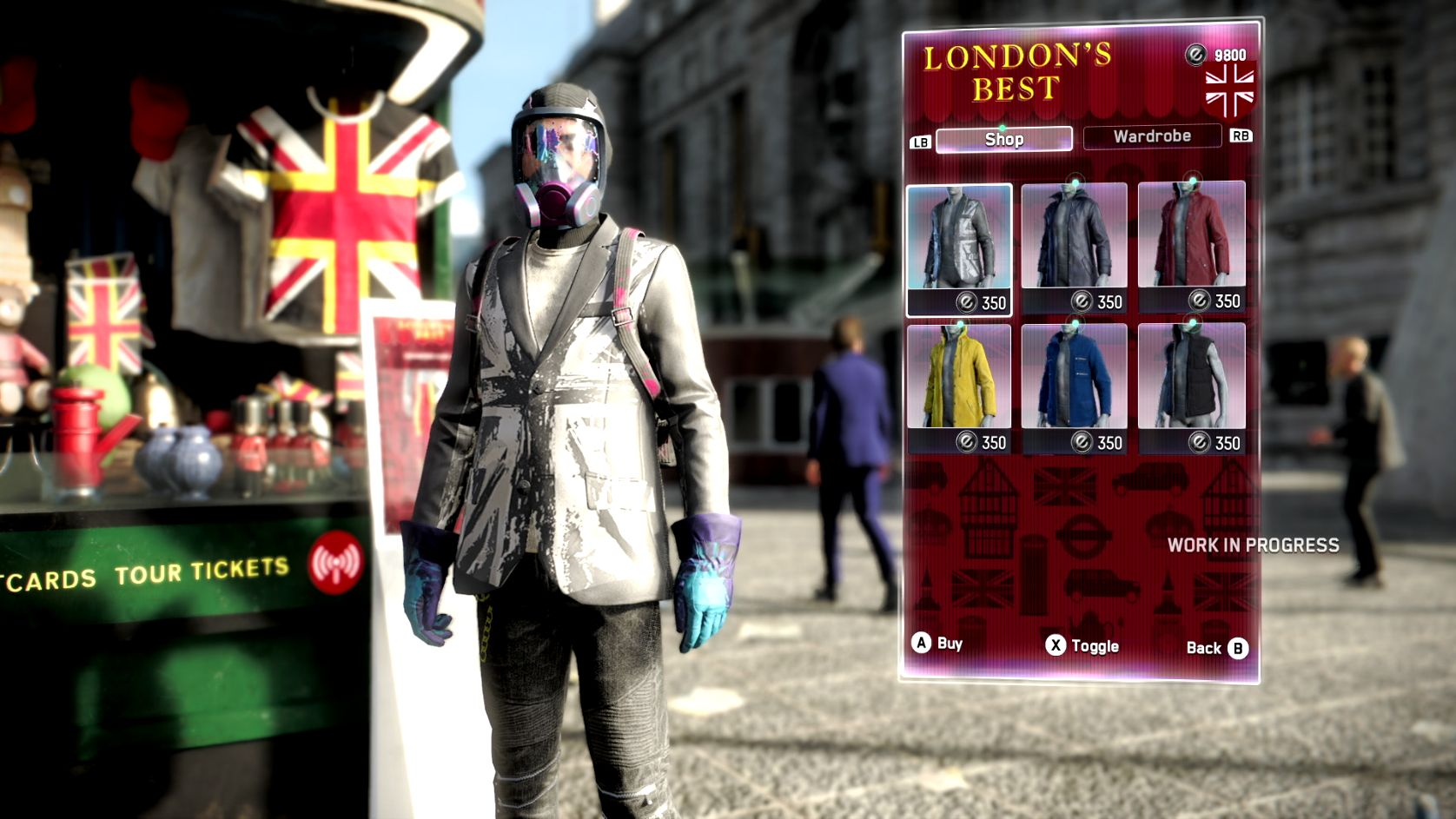 A screenshot showing a DedSec operative browsing the clothes at a London's Best clothes shop. He is considering a Union Jack blazer