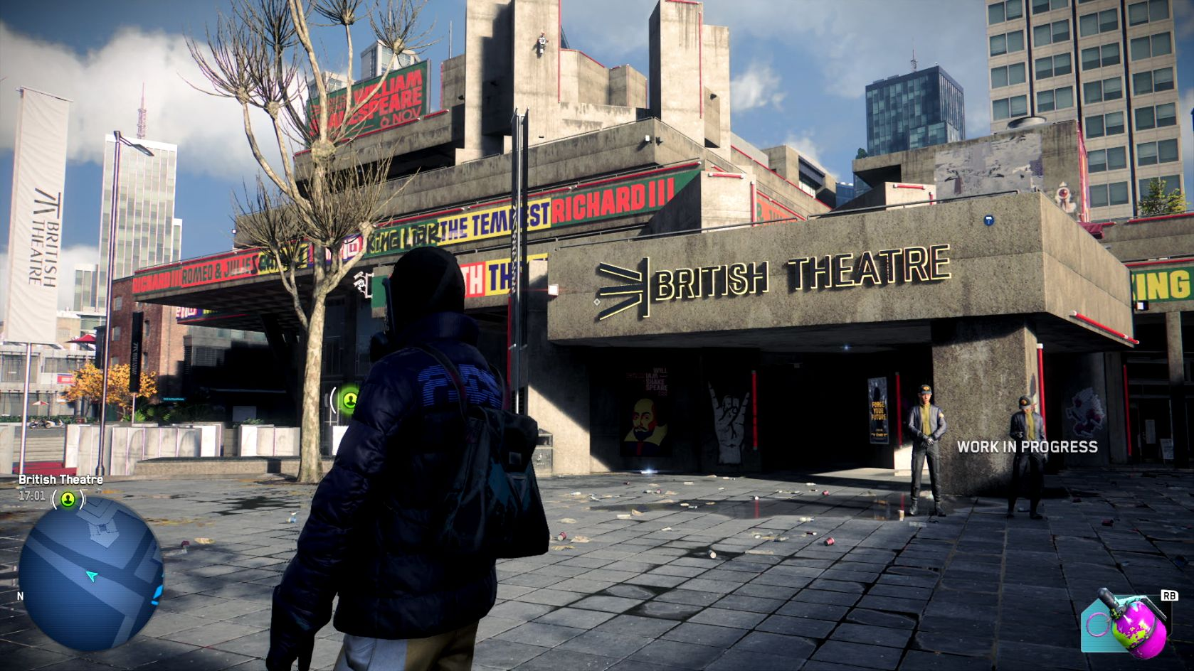 A screenshot showing Watch Dogs Legion's version of the National Theatre on London's South Bank