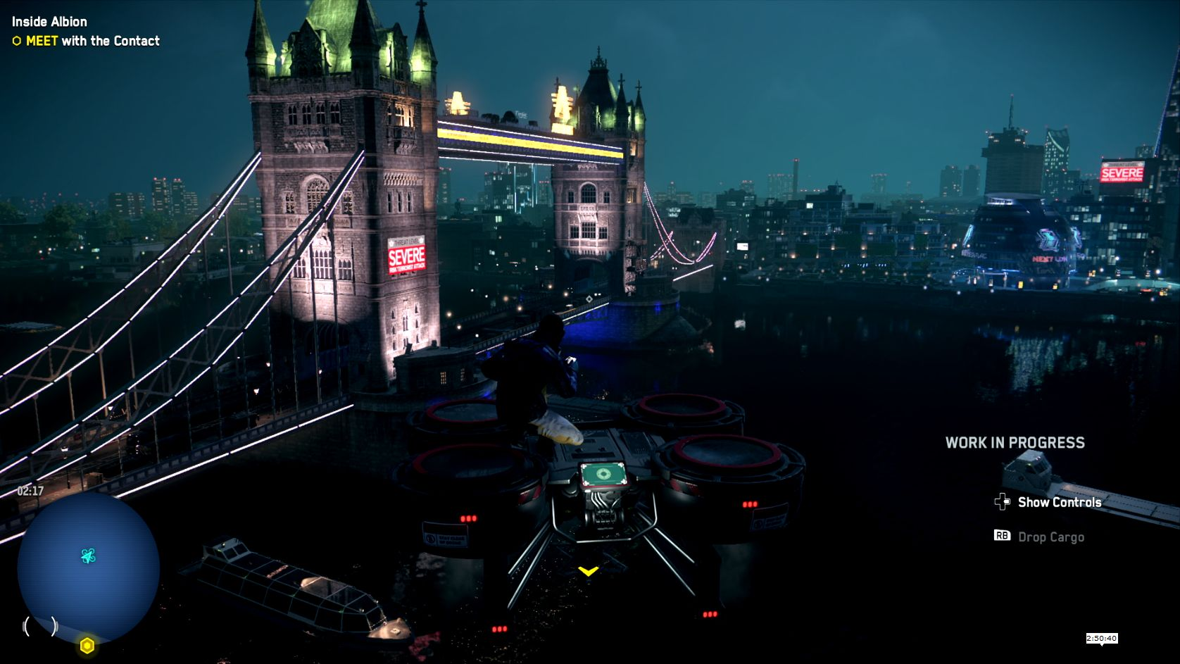 A screenshot showing the player riding a construction drone, flying in the air near Tower Bridge by night
