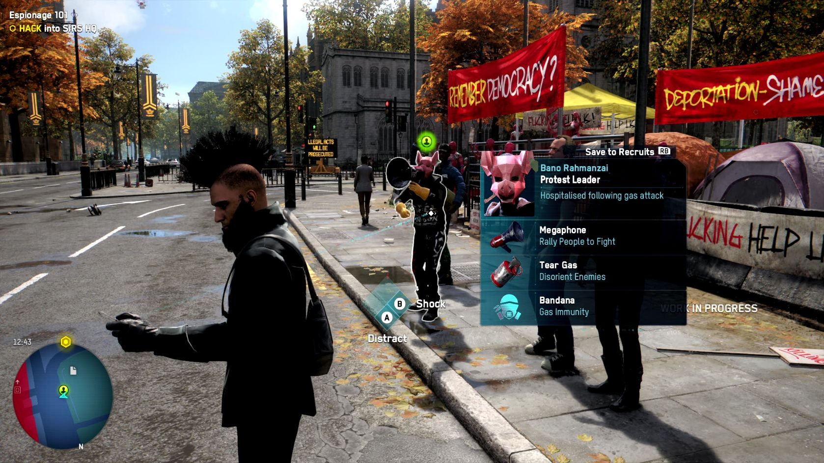 A screenshot of a DedSec operative, a hacker with a mohawk, standing in front of a protest near Westminster