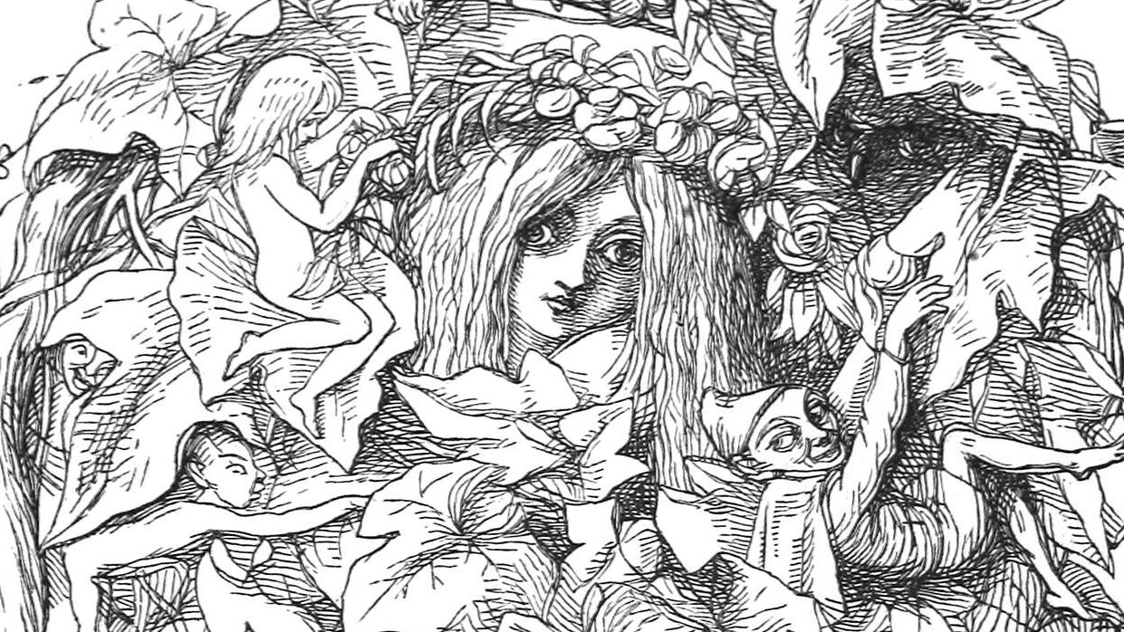 The face of a girl with wide eyes and wearing a flower wreath can be seen amid a circling vine housing elves or imps. From the book 'An old fairy tale: the sleeping beauty'