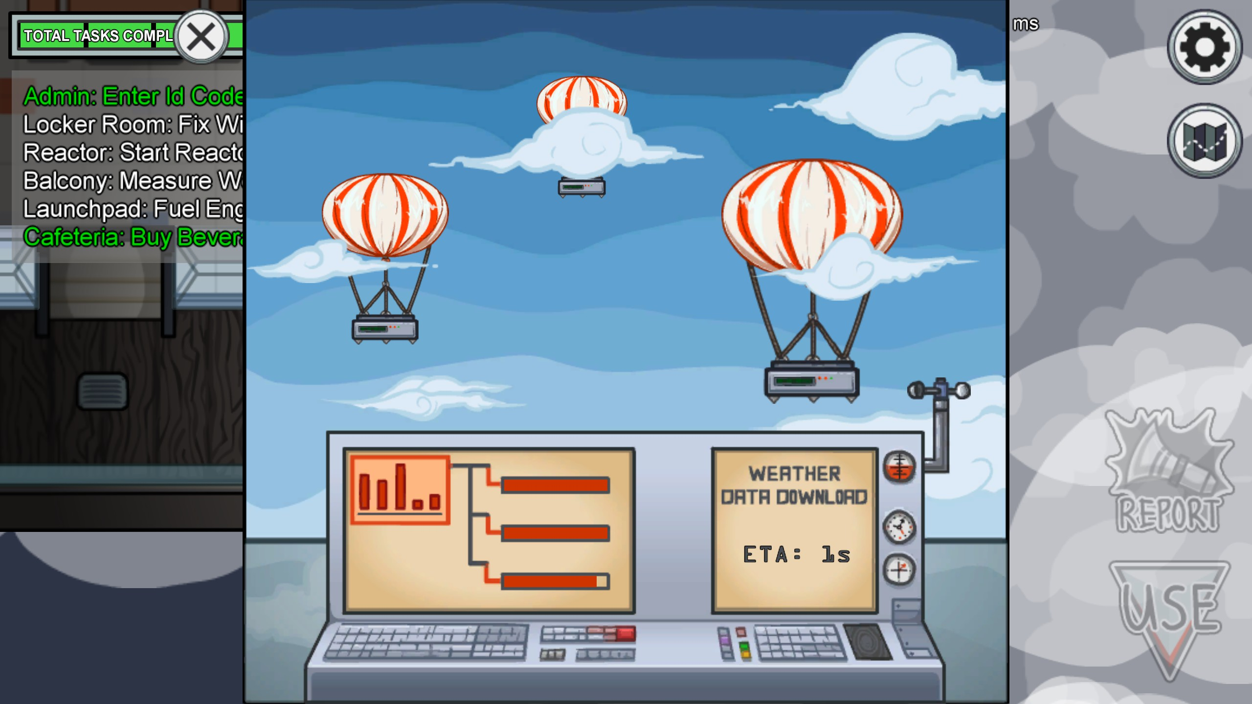 An Among Us screenshot. It shows a minigame. The screen has weather balloons that you need to download data from.