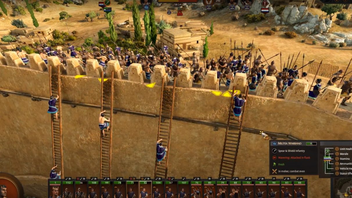 Some hapless trojans scale a wall, as loads of angry defenders mass at the top ready to butcher them.