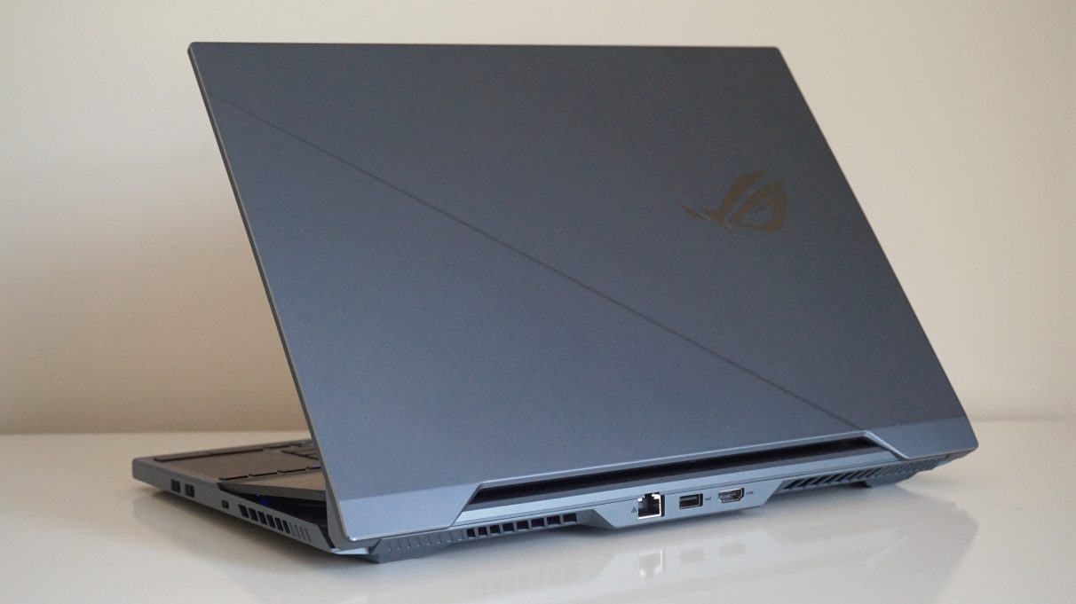 A photo showing the lid of the Asus ROG Zephyrus Duo 15.