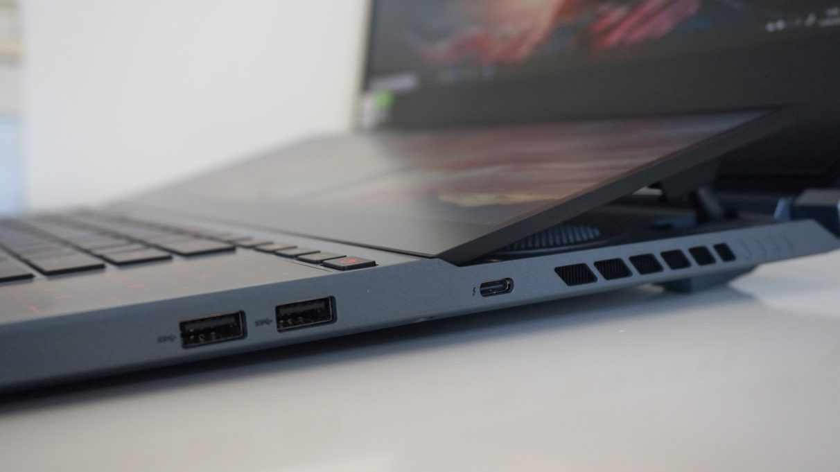 A photo showing the Asus ROG Zephyrus Duo 15's two USB 3.2 ports and single USB-C / Thunderbolt 3 port.