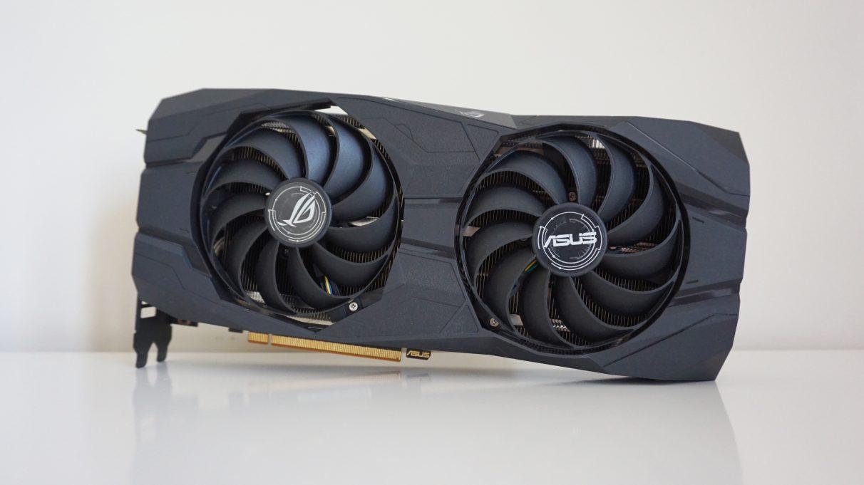 A photo of the Asus ROG Strix Radeon RX 5500 XT OC (8GB) graphics card.