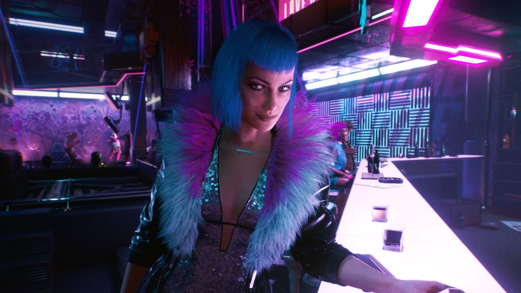 A screenshot from Cyberpunk 2077 of an elegant woman dressed for a night out. She is standing at a bar, the room behind her is lit in pink and blue. She is wearing a silver sequin dress with a deep vee cut down the front, and a jacket with a blue and purple fur collar