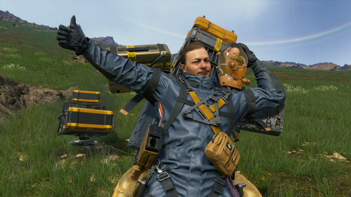A screenshot of Death Stranding and BB posing in Death Stranding.