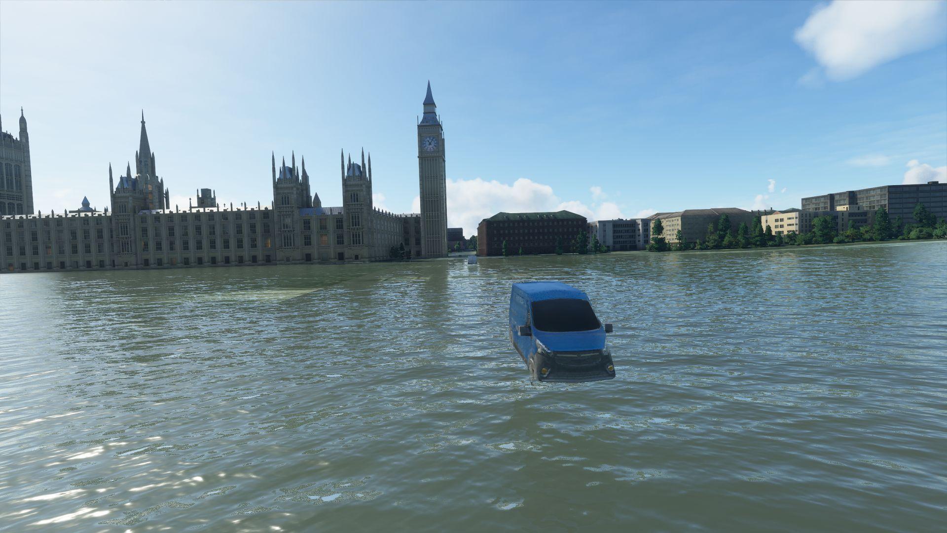 car driving over an underwater bridge