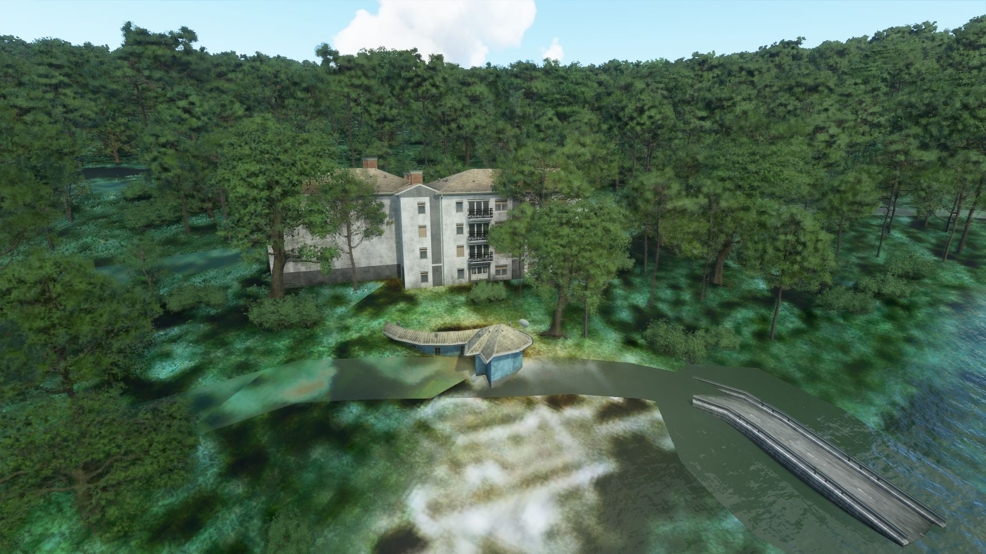 A screenshot from Microsoft Flight Simulator showing Frank Lloyd Wright's Falling Water. It is made out of generic buildings and not the original building