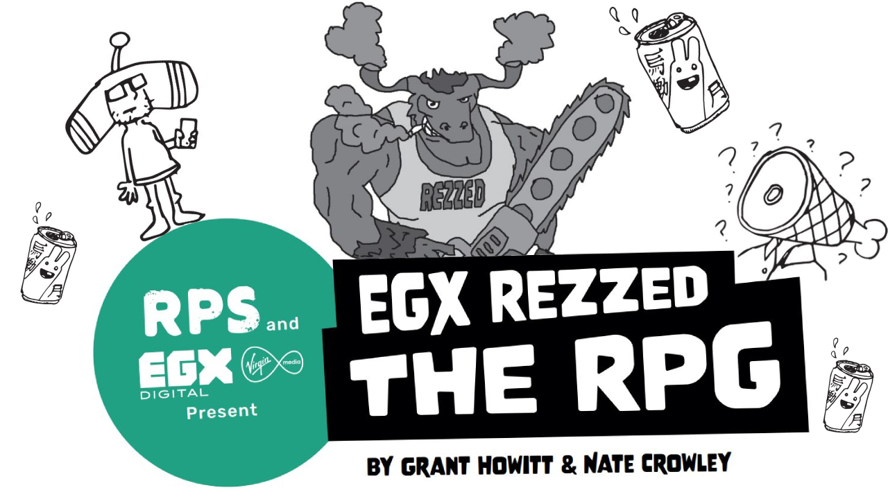 A title reads EGX REZZED THE RPG, by Grant Howitt and Nate Crowley. Behind it is a drawing of a cartoon Minotaur wielding a chainsaw. On either side is a cartoon of someone dressed as the main character from Katamai Damacy, and someone with a leg of ham for a head.