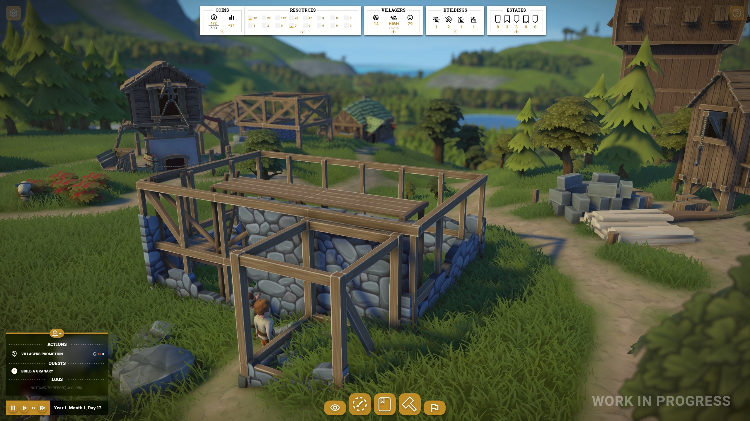 Another work in progress screenshot of Foundation's new UI,  showing an early stage of the game. A building is half completed on screen. At the top, there are small menus showing how much money and other resources the player's town has, as well as their villager count and happiness, the status of their buildings and their estates.