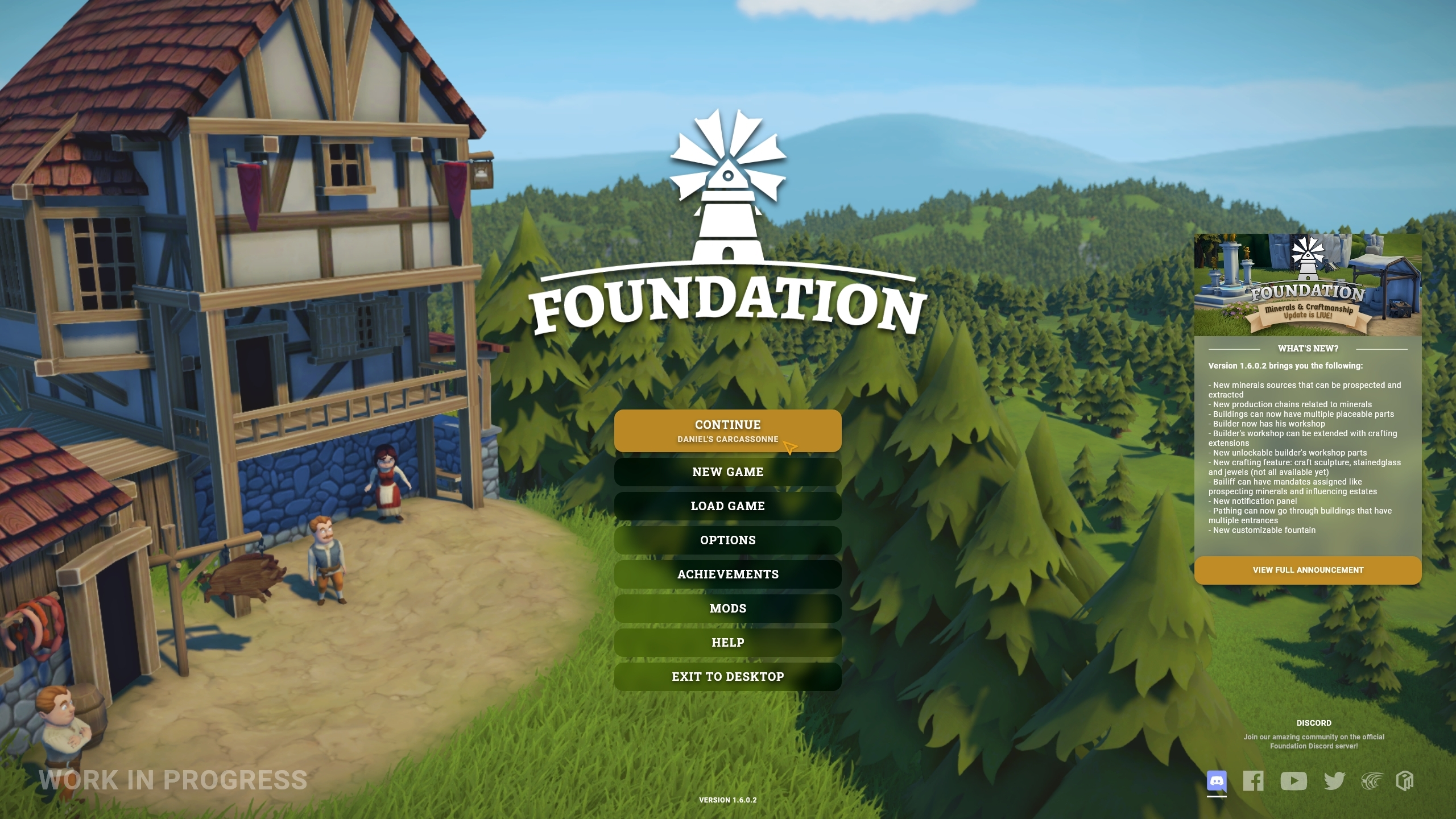 A work in progress screenshot of the new UI for Foundation, this one showing the title screen. There is a clear list of menu items such as Continue, New Game, Load Game, each in clear font on a dark shadow button. The buttons light up a golden brown colour when selected.