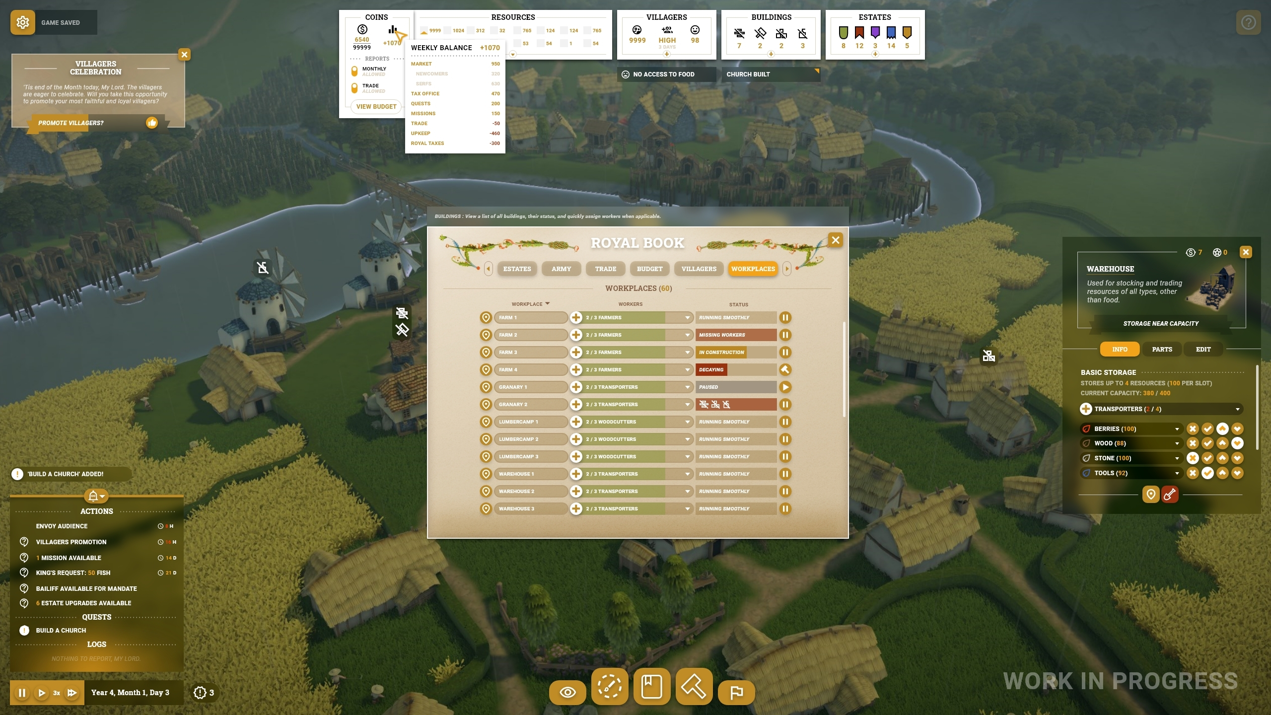 A work in progress screenshot of the new UI for Foundation, this one later on in the game. In the middle of the screen the player has open the Royal Book, showing all the workplaces, their status, and how many workers are employed at each. The book also has tabs for Estates, Army, Trade, Budget and Villagers. In the bottom left corner, a small box shows outstanding actions, such as promoting villagers or upgrading estates, and how many days are left to complete them. At the top of the screen, the player has moused over a menu for Coins, so it has popped up a detailed breakdown of incomings and outgoings.