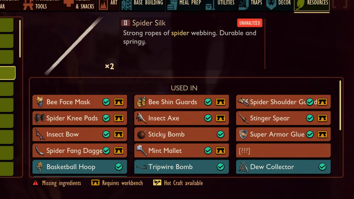 Spider Silk in Grounded is used in the construction of lots of Tier 2 gear as well as other useful creations.