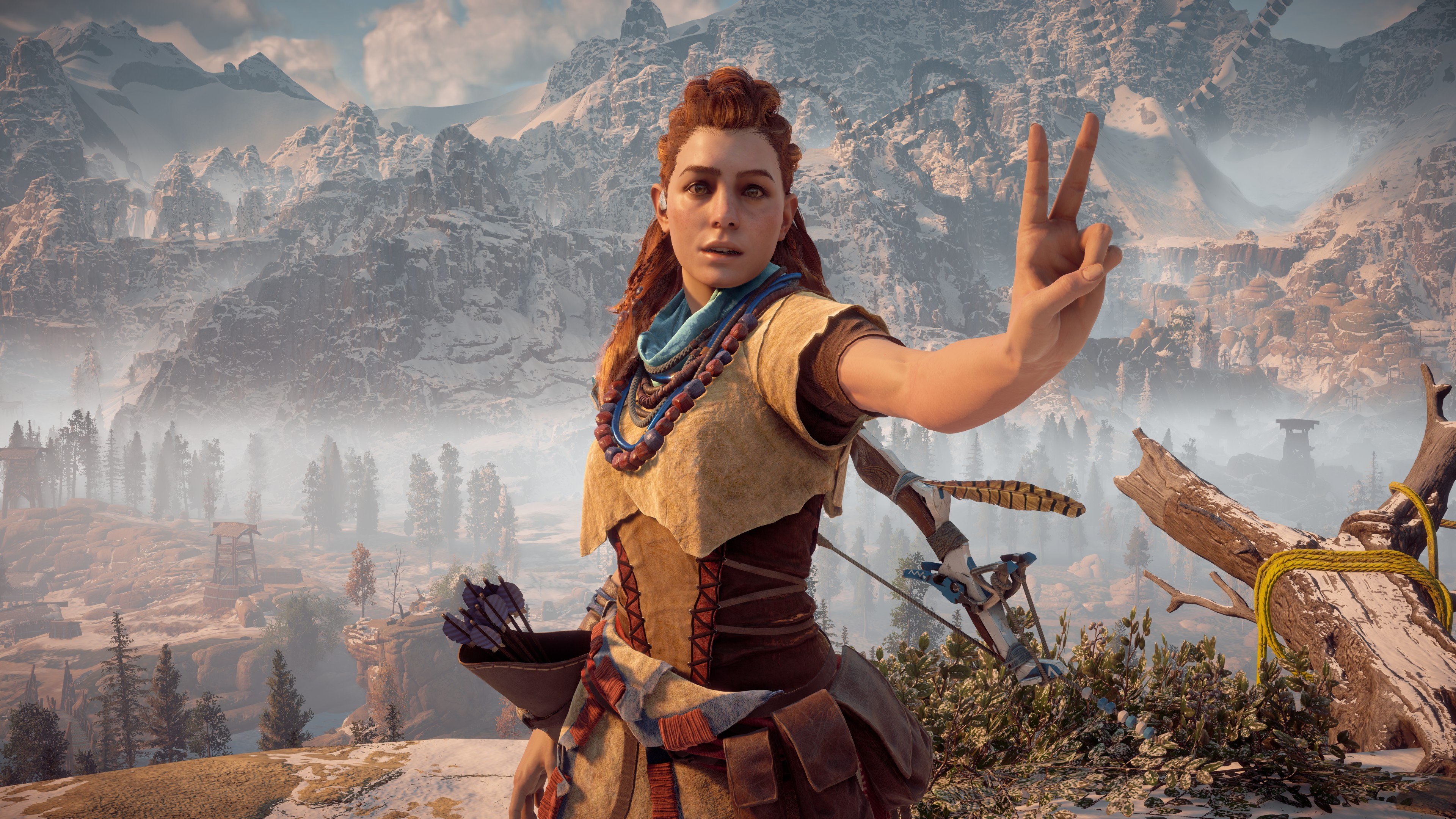 A screenshot of Aloy from Horizon Zero Dawn doing the peace sign in the game's photo mode.