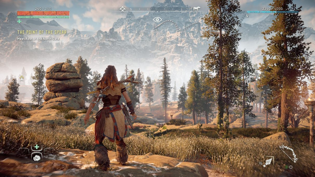 A screenshot of Horizon Zero Dawn on Original graphics settings