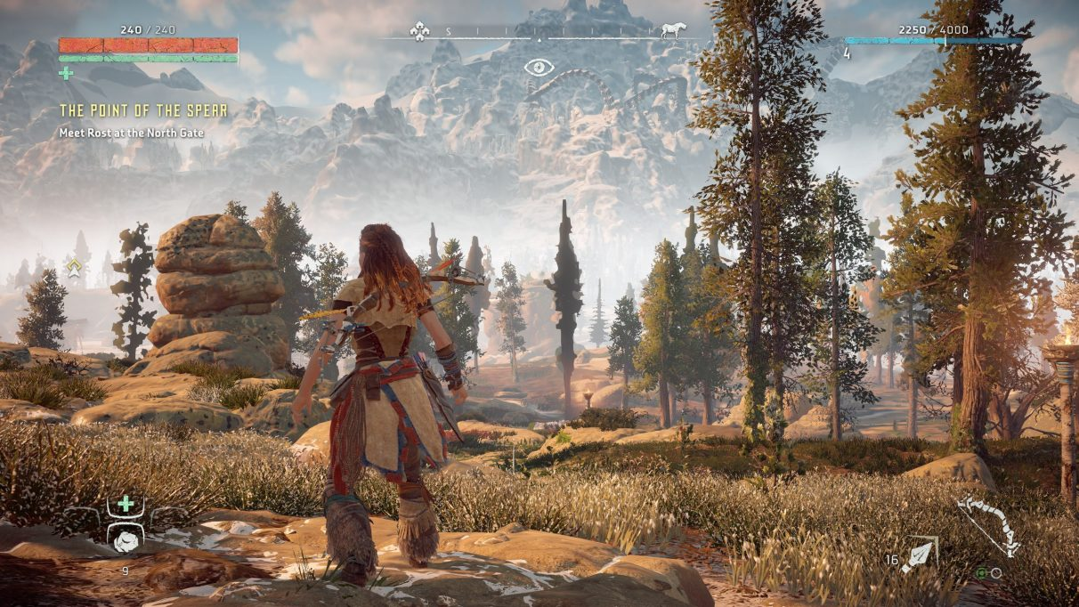 A screenshot of Horizon Zero Dawn on Favour Performance graphics settings