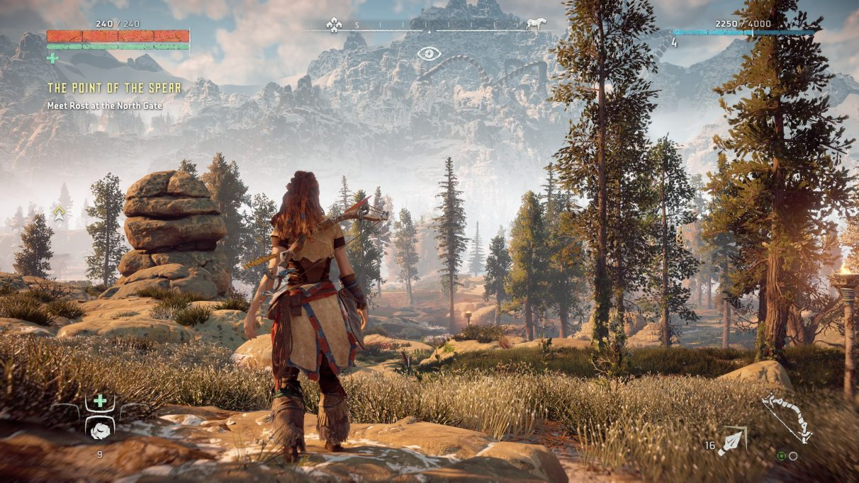 A screenshot of Horizon Zero Dawn on Ultimate Quality graphics settings