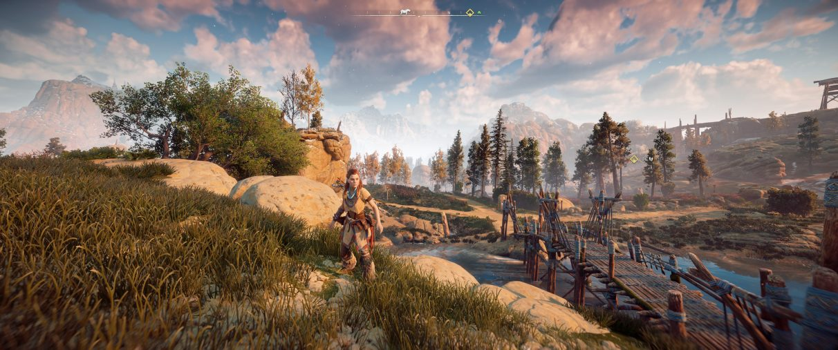 An ultrawide screenshot of Horizon Zero Dawn with a Field Of View setting at 100 degrees