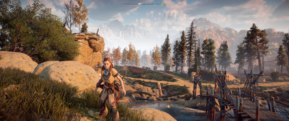 An ultrawide screenshot of Horizon Zero Dawn with a Field Of View setting at 70 degrees