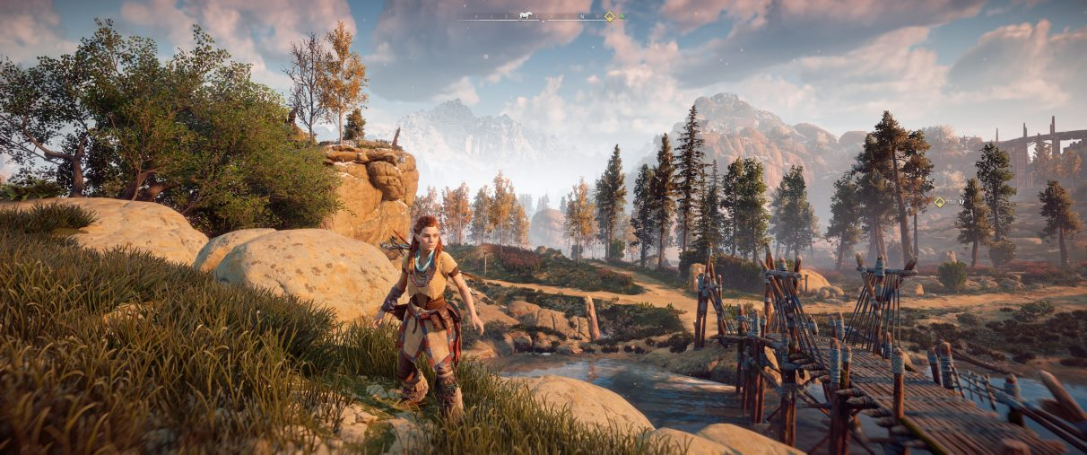 An ultrawide screenshot of Horizon Zero Dawn with a Field Of View setting at 80 degrees