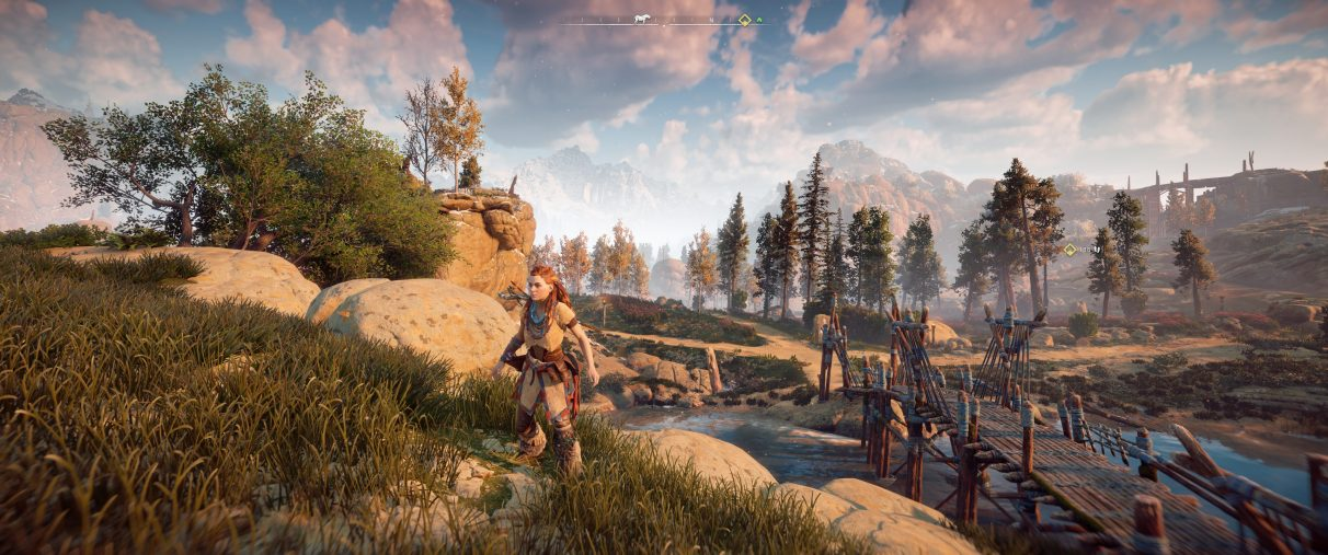 An ultrawide screenshot of Horizon Zero Dawn with a Field Of View setting at 90 degrees